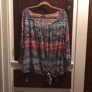 Tie front key hole blouse size 3X